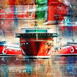 Kunstwerk schepen van Corsica Linea