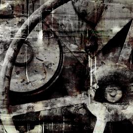 Grafisch kunstwerk van scheepswerf in Zwartsluis