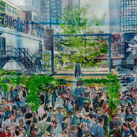 kunstwerk levendig terras Rotterdam