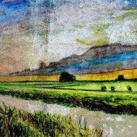 Geel licht onder wolk door Wim Noordam