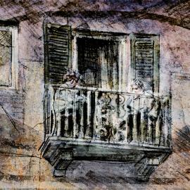 Een Balkon in Bellagio, grafische kunst van Wim Noordam