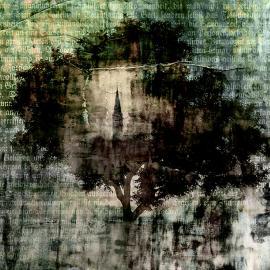 De boom en het kerkje, grafisch realisme door Wim Noordam