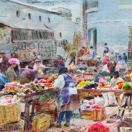 Grafische kunst - Markt in Ecuador