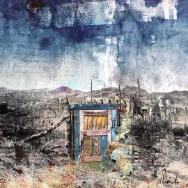 Het gekleurde deurtje, grafische kunst Wim Noordam