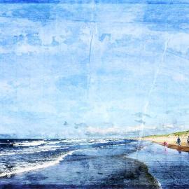 Strandwandeling, grafisch kunst Wim Noordam