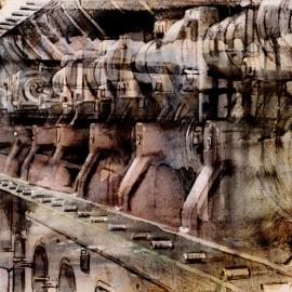 Grafisch kunstwerk van Scheepsmotor Dordrecht