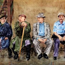 Grafische kunst, vier oude mannen