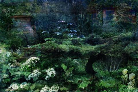 Grafisch kunstwerk van een tuin