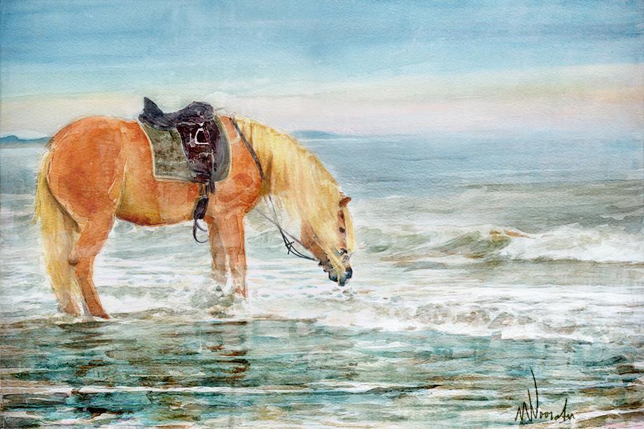 Grafische kunst, paard aan zee